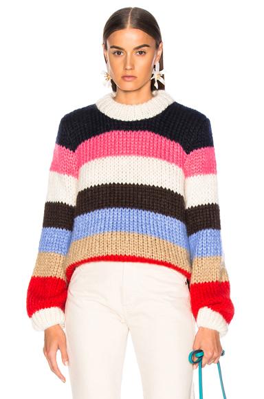 GANNI | Ganni Julliard Mohair Sweater In Black,Pink,Stripes,Red. - Size M (Also In L) | Goxip