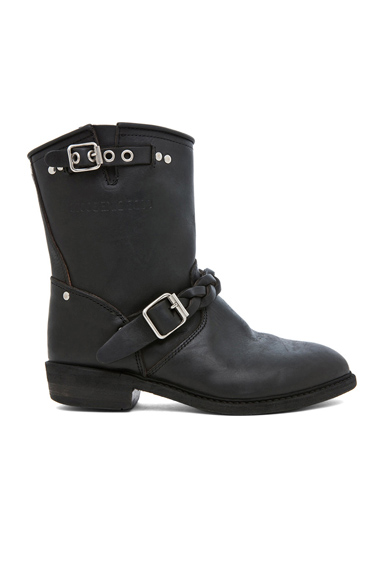 GOLDEN GOOSE | Leather Short Biker Boots in Black Stud