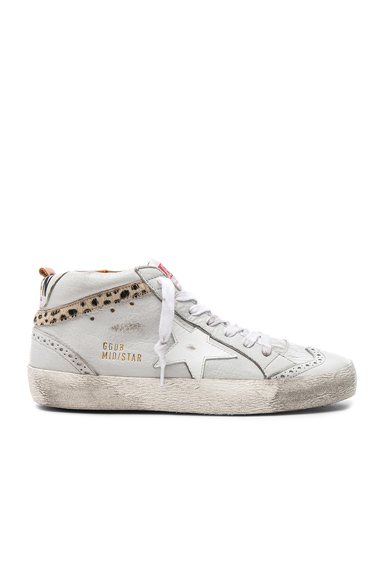 Golden Goose Leather Mid Star Sneakers With Cow Hair in Gray, Animal Print