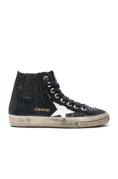 Golden Goose V Star Sneakers in Black, Metallics