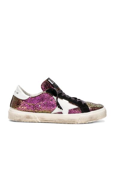 Golden Goose Cracked Iridescent May Sneakers in Metallics, Purple