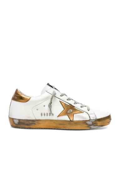 Golden Goose Leather Superstar Sneakers in White, Metallics