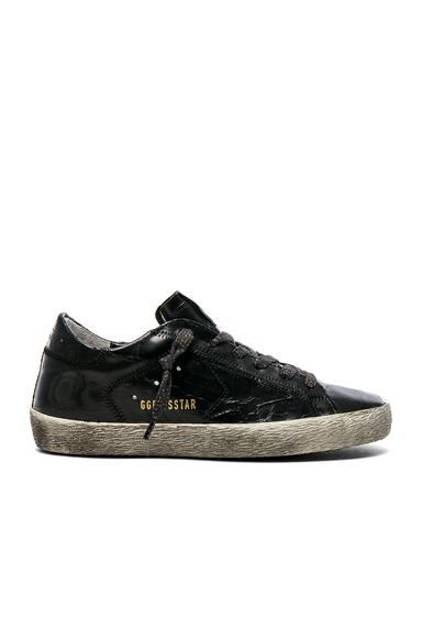 Golden Goose Croc Embossed Leather Superstar Sneakers in Black, Animal Print
