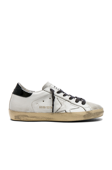 Golden Goose Leather Superstar Sneakers in White, Animal Print