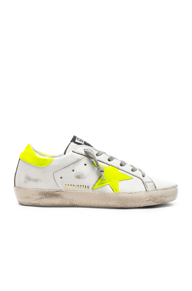 Golden Goose Leather Superstar Sneakers in White, Yellow, Neon