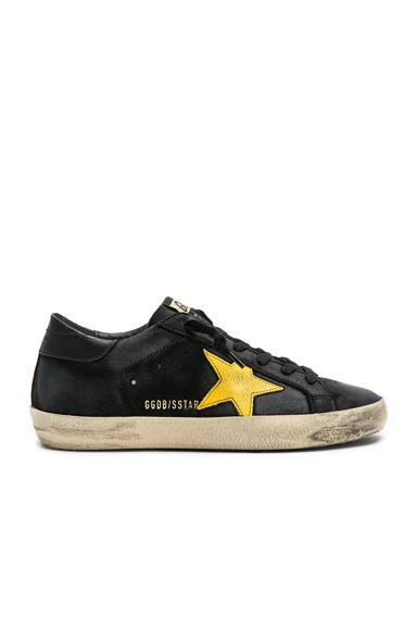 Golden Goose Nubuck Leather Superstar Sneakers in Black