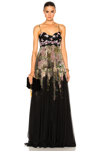 Giambattista Valli Printed Gown in Black, Floral