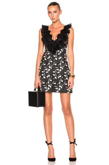 Giambattista Valli V-Neck Mini Dress in Black, Floral, Pink