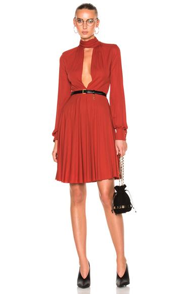 Giambattista Valli Tie-Neck Mini Dress in Orange