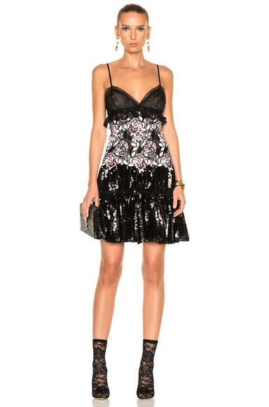 Giambattista Valli Sequin Mini Dress in Black, Floral