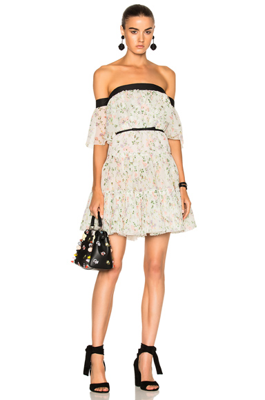 Giambattista Valli Off The Shoulder Tiered Mini Dress in Floral, Green, White