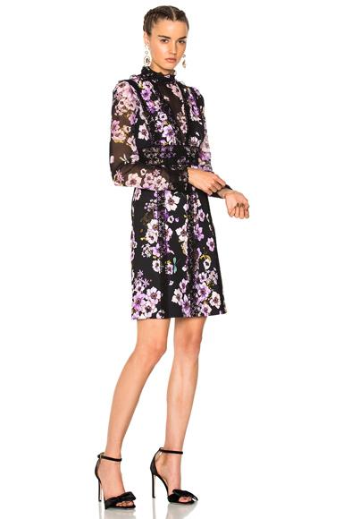 Giambattista Valli Printed Mini Dress in Black, Floral, Purple