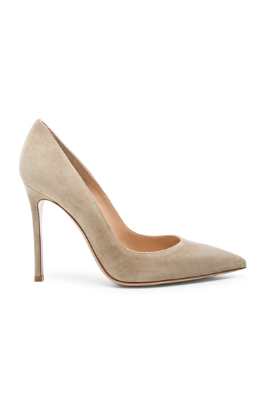 GIANVITO ROSSI | Gianvito Rossi Suede Gianvito Heels In Neutrals. - Size 42 (Also In 39,39.5,41) | Goxip