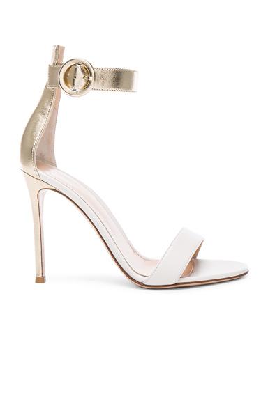 Gianvito Rossi Leather Portofino Heels in Metallics, White