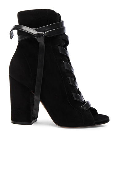 Gianvito Rossi Suede Lace Up Booties in Black