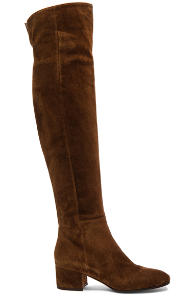Gianvito Rossi Suede Over The Knee Boots in Brown