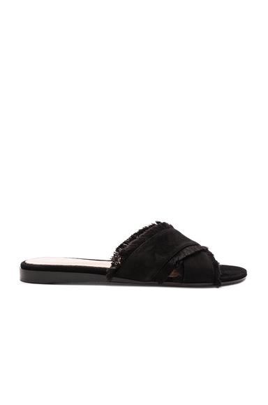 Gianvito Rossi Suede & Satin Barth Flat Sandals in Black