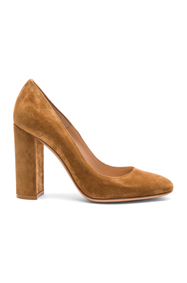 Gianvito Rossi Suede Chunky Heels in Brown