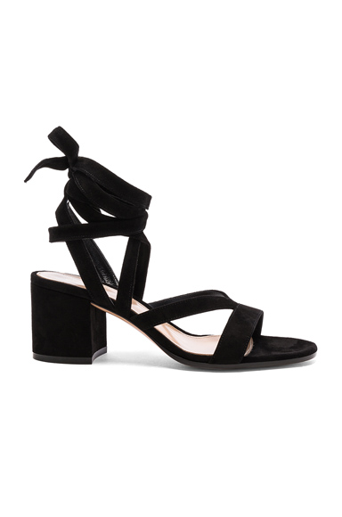 Gianvito Rossi Suede Janis Low Sandals in Black