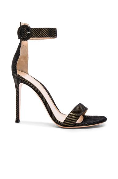 Gianvito Rossi Metallic Pinstripe Portofino Heels in Metallics, Black, Stripes