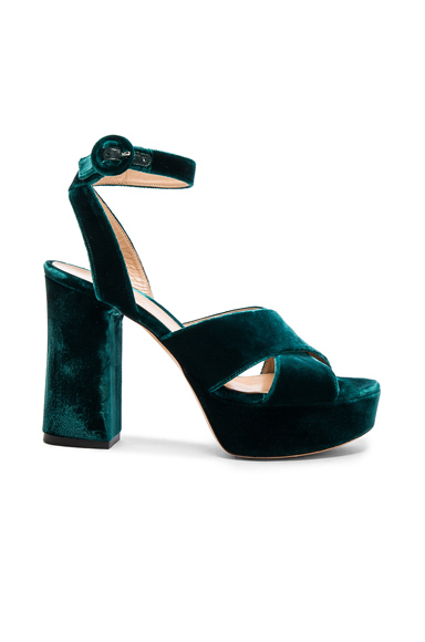 Gianvito Rossi Velvet Roxy Platform Heels in Green