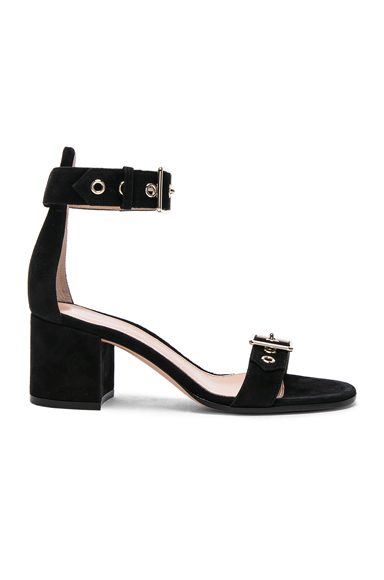 Gianvito Rossi Suede Hayes Buckle Detail Sandals in Black