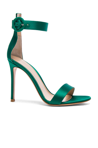 Gianvito Rossi Satin Portofino Heels in Green