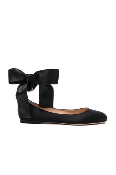 Gianvito Rossi Satin Odette Ankle Tie Flats in Black