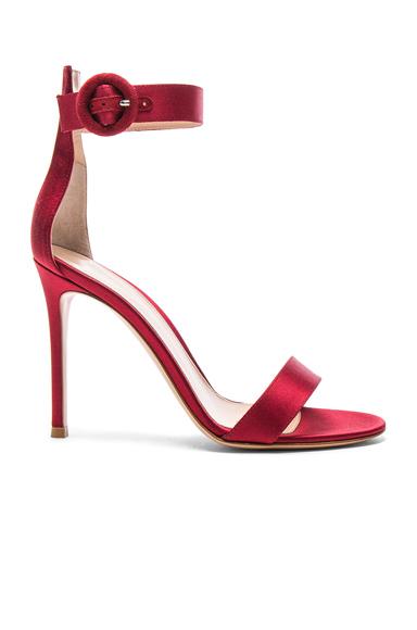 Gianvito Rossi Satin Portofino Heels in Red