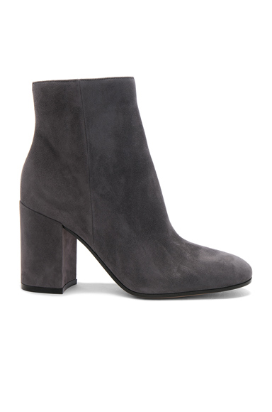 Gianvito Rossi Suede Rolling Booties in Gray