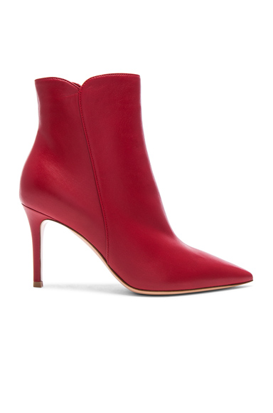 Gianvito Rossi Nappa Leather Levy Ankle Boots in Red