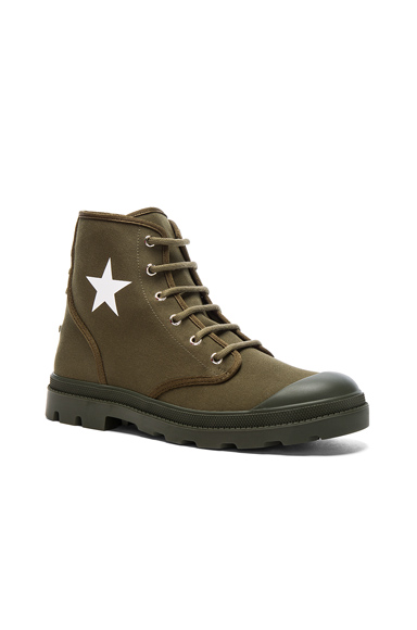 Givenchy Canvas Star Sneaker Boots in Green. - size 42 (also in 43,44,45)