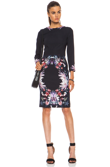 GIVENCHY | Placed Rose Viscose-Blend Cady Dress in Multi