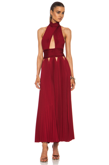 GIVENCHY | Pleated Cut Out Cross Front Viscose-Blend Dress in Red