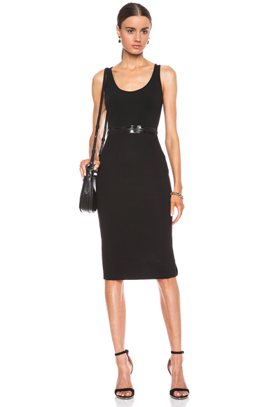 GIVENCHY | Neoprene Dress with Lacquered Zip Detail in Black