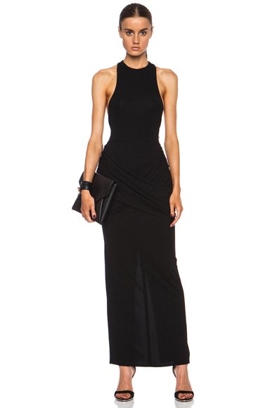 GIVENCHY | Draped Jersey Viscose-Blend Dress in Black