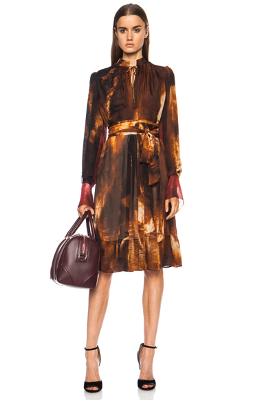 GIVENCHY   Pleated Sheer Lame Silk Dress in Multi