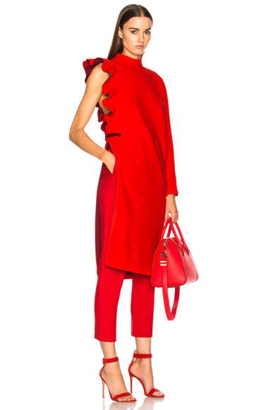 Givenchy Ruffle Sleeve One Shoulder Dress in Red