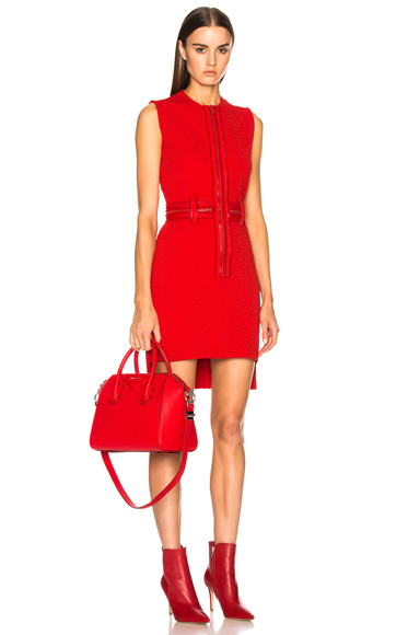 Givenchy Zip Detail Mini Dress in Red