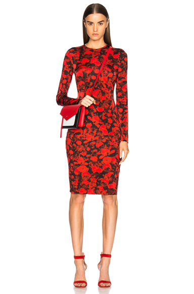 Givenchy Printed Midi Dress in Floral, Red
