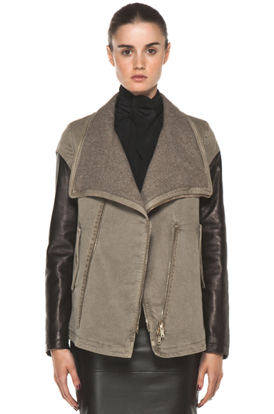 GIVENCHY | Denim Jacket with Leather in Taupe