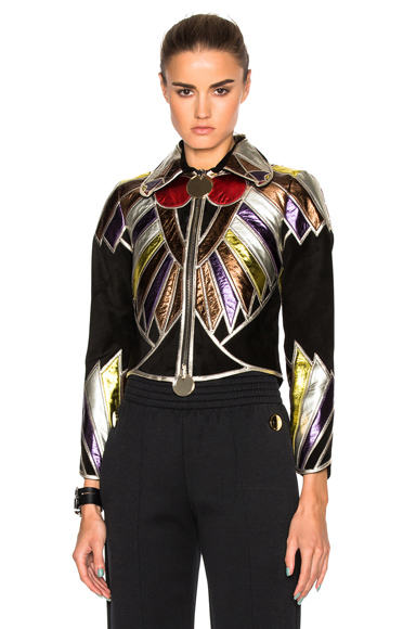 Givenchy Suede Embroidered Patchwork Jacket in Black, Abstract