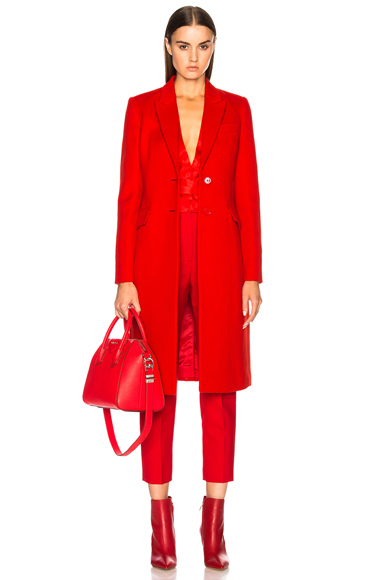 Givenchy Two Button Overcoat in Red