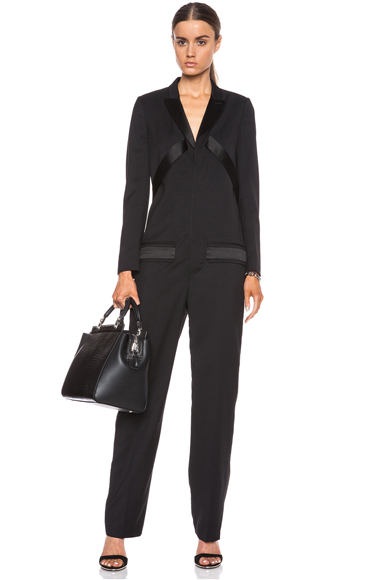 GIVENCHY | Light Wool Jumpsuit with Satin Lapel in Black