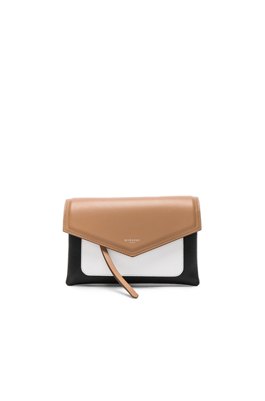Givenchy Tri Color Duetto Crossbody Flap Bag in Black, Neutrals, White.