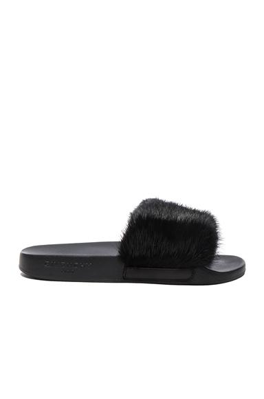 Givenchy Mink Fur Slides in Black