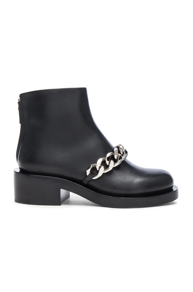 Givenchy Leather Laura Silver Chain Ankle Boots in Black