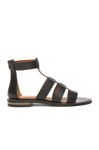 Givenchy Leather Gladiator Sandals in Black