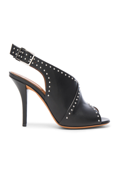 Givenchy Studded Leather Open Toe Heels in Black