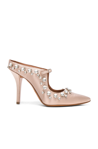 Givenchy Feminine Satin Crystal Mule in Neutrals